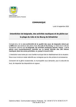 Interdiction de baignade 14 septembre 2020 (Agrandir l'image).
